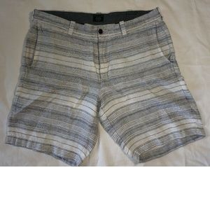 J Crew Mens Linen Casual Shorts 34 Blue Striped
